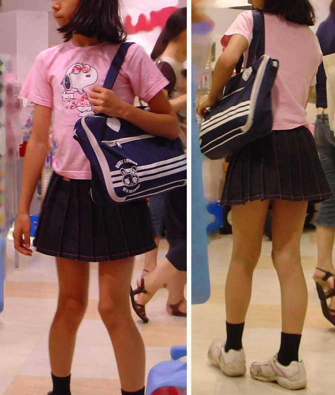 制服中学生の美脚生足を街撮り盗撮した画像集